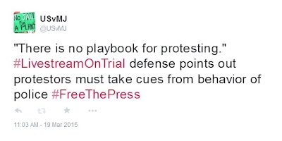 """There is no playbook for protesting."" #LivestreamOnTrial defense points out protestors must take cues from behavior of police #FreeThePress"