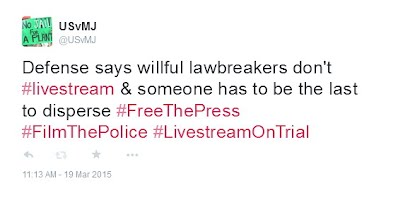 Defense says willful lawbreakers don't #livestream & someone has to be the last to disperse #FreeThePress #FilmThePolice #LivestreamOnTrial